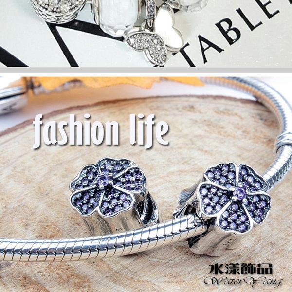 鑲鑽四葉幸運草純銀韓版串飾  DIY手鏈串珠配件