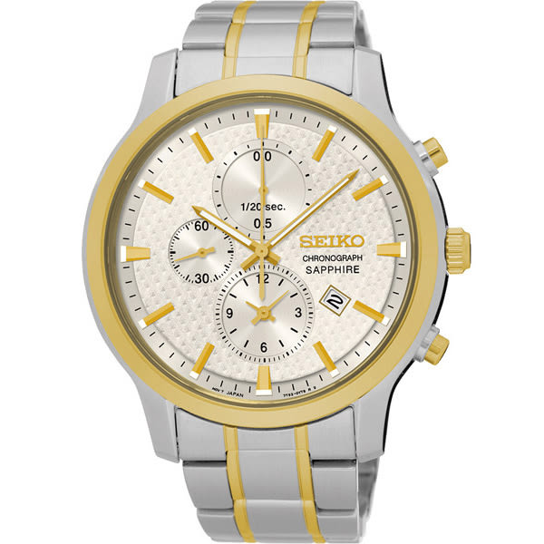 SEIKO 精工 日系美學時尚計時手錶-淡金x雙色版/42mm 7T92-0TT0KS(SNDG68P1)