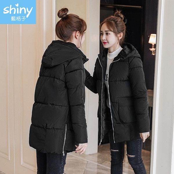 【V9300】shiny藍格子-冬日暖意.純色側拉鍊羽絨襖棉中長款連帽外套