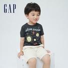 Gap男幼童 布萊納系列 可愛印花純棉短袖T恤 701451-灰藍色