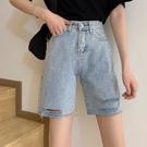DE shop - 破洞短褲今年流行的五分褲牛仔短褲 - A-8724