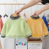 兒童連帽T恤 童裝2019冬季男寶寶加絨加厚高領連帽T恤1-2-3歲女童嬰兒假兩件上衣【全館免運】