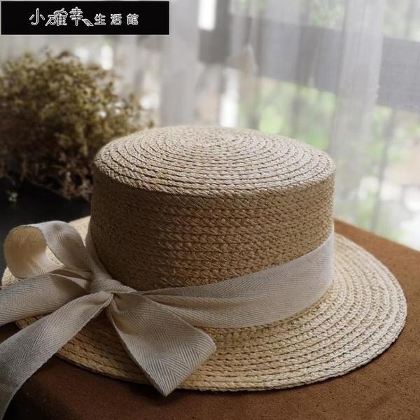 沙灘帽 拉菲草草帽平頂女新款防曬草帽文藝遮陽帽夏季出游度假小沿沙灘帽 快速出貨