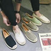 夏季亞麻帆布漁夫鞋男士懶人鞋草編休閒男鞋子一腳蹬老北京布鞋男 藍嵐