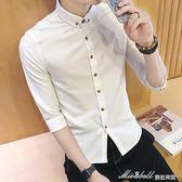 男士短袖新款春季修身韓版潮流學生青年五分袖襯衣中袖寸衫    蜜拉貝爾