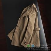 中青年男防風外套時尚英倫風翻領肩章款風衣外套