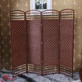 屏風隔斷客廳簡約現代折疊移動屏風藤編中式酒店辦公折屏試衣間