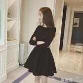 雙12購物節長袖洋裝秋冬洋裝女加絨赫本復古小黑裙韓范黑色長袖打底a字裙 夢依港
