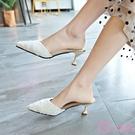 半拖鞋 休閒鞋 包頭半拖鞋女夏季時尚百搭外穿細跟高跟鞋無後跟涼拖