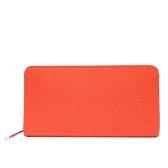 LOUIS VUITTON LV 路易威登 橘色EPI水波紋拉鏈長夾 Zippy Wallet M60310【BRAND OFF】