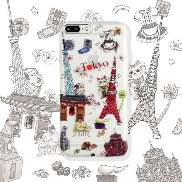 iPhone7 / iPhone8 Plus 手機殼 5.5吋【Voyage 城事 - 東京 Tokyo - 霧透軟殼】WaKase