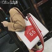 側背包 斜背包秋季大容量大包包托特包單肩斜挎手提包百搭時尚包包女「Chic七色堇」