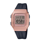 CASIO手錶專賣店 卡西歐 F-201WAM-5A 電子錶 復古時尚電子錶 橡膠錶帶 玫瑰金 十年電力 生活防水