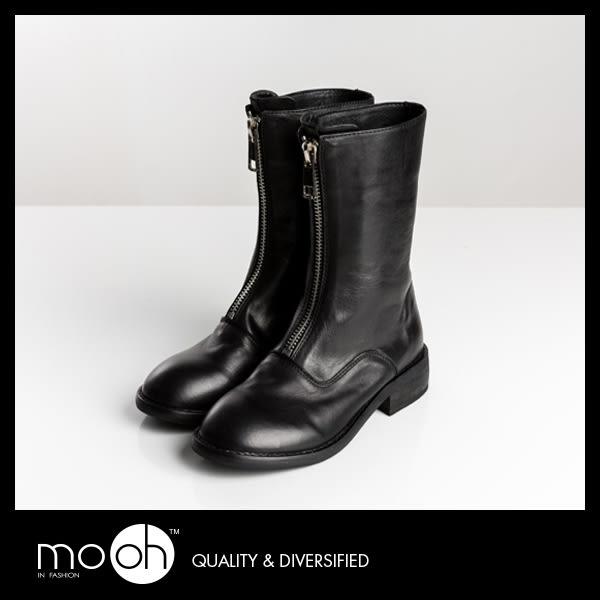 歐美真皮大拉鏈中筒機車靴 復古英倫圓頭馬丁靴 mo.oh (歐美鞋款)
