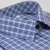 【金‧安德森】白底深淺藍格紋相間窄版長袖襯衫