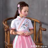 漢服短裙 女童寶寶 改良短袖 日常漢服百褶裙 國學服 唐裝 瑪麗蓮安