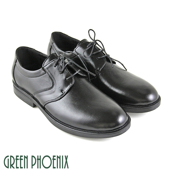 T59-10925 男款全真皮皮鞋 極簡線條綁帶全真皮平底皮鞋通勤/商務/紳士皮鞋【GREEN PHOENIX】