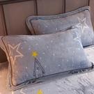 法蘭絨枕套枕頭套單人一對裝珊瑚絨冬季加厚毛絨枕芯套48*74 夢幻小鎮