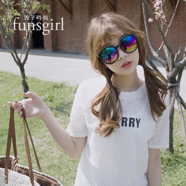 抗UV400韓國流行修飾大圓框反光墨鏡太陽眼鏡3色~funsgirl芳子時尚