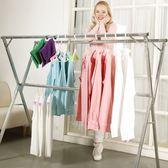 晾衣架落地摺疊室內外陽台雙桿式涼曬衣架行動簡易掛衣桿被子架(送防風勾30個)T