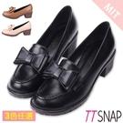 紳士鞋-TTSNAP可愛訂製款雙層蝴蝶結中跟鞋 黑/棕/米