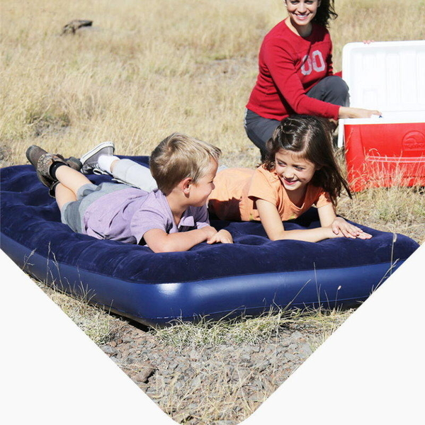 【DZ103A】充氣單人床墊185x76x22cm 植絨床墊(免運) 充氣床墊 露營 戶外蜂窩獨立筒氣墊床 EZGO商城