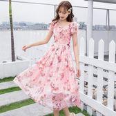夏日立體時尚印花V領清新雪紡洋裝[98881-QF]美之札