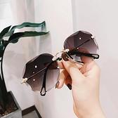 歐美切邊新款無框太陽鏡大框個性網紅明星款蛤蟆鏡墨鏡女眼鏡 喜迎新春