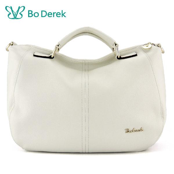 【BO DEREK】摔紋牛皮手提斜背兩用包-白色