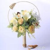 團扇婚禮手捧花仿真玫瑰古典中國風結婚中式手捧花婚紗照拍攝道具 盯目家~
