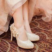 現貨 MIT小中大尺碼圓頭高跟鞋 山楂花女神 內增高水鑽花朵真皮鞋墊高跟鞋 21-27 EPRIS艾佩絲-高貴金