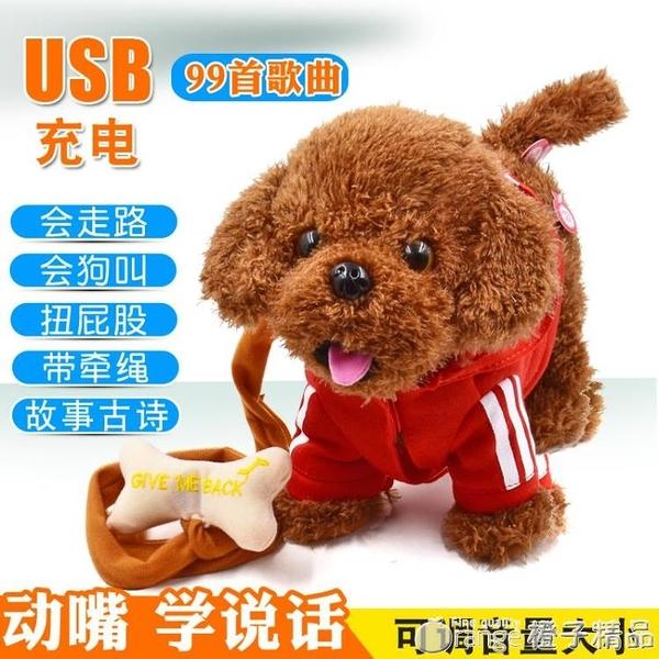 兒童電動毛絨玩具狗狗會唱歌會叫電子仿真泰迪牽繩走路小狗男女孩 (橙子精品)