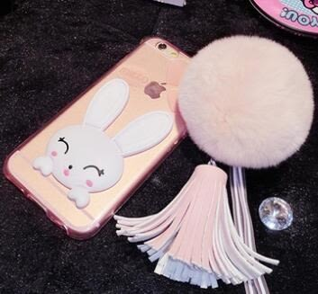 [24hr 火速出貨] 蘋果 iphone 6 6s plus 獺兔毛可愛兔兔支架手機殼 兔子 支架 兔耳朵