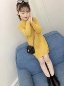 女童新款毛衣中長款秋冬裝中大童套頭加絨加厚高領洋氣打底衫