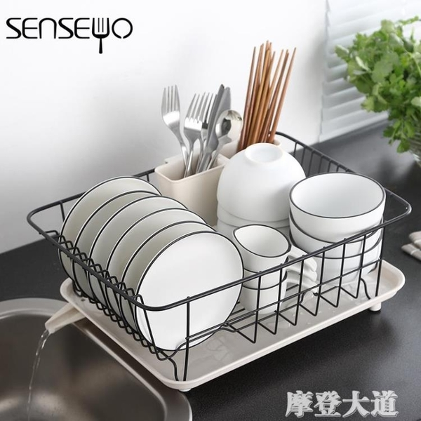senseyo304瀝水碗碟架筷收納置物架籃子廚房家用碗櫃放盤碗架QM『摩登大道』