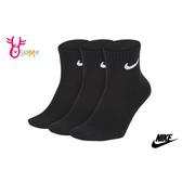 NIKE 襪子 成人男女款 大童 親子 薄底 運動襪 三雙入 SX414#黑色◆OSOME奧森鞋業