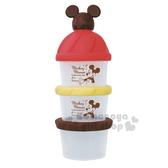 〔小禮堂〕迪士尼 米奇 日製造型蓋塑膠三層奶粉罐《棕紅》奶粉盒.食物盒.餅乾盒 4904121-36402
