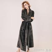 新品浴袍 秋冬款法蘭絨睡袍女冬季加絨加厚加長款珊瑚絨浴袍男情侶睡袍睡衣