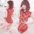 復古趴 情趣用品-經典復古!透明蕾絲柔紗旗袍(紅) -角色扮演服