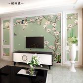 現代新中式古典壁紙壁畫無紡布墻紙美式客廳電視背景墻中式墻布3d【櫻花本鋪】