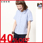 短袖襯衫 亞麻上衣 直條紋襯衫 日本品牌【coen】
