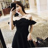 溫柔風連衣裙2018夏季新款小心機漏肩冷淡風一字肩露背顯瘦裙女潮-黑色地帶