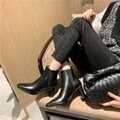 真皮女鞋34-40 2020韓版優雅顯瘦百搭頭層牛皮方頭高跟切爾西靴 短靴子 ~2色