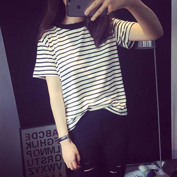 (全館免運) - 韓版經典百搭寬鬆條紋卷邊短袖T恤女(T-0509)均碼