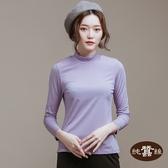 【岱妮蠶絲】立領色織條紋長袖上衣(薰衣草紫)