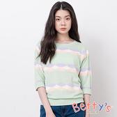 betty's貝蒂思 羅紋幾何圖形七分袖針織上衣(淺綠)