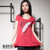 【BTIS】立體羽毛印花 短袖上衣 / 暗紅色