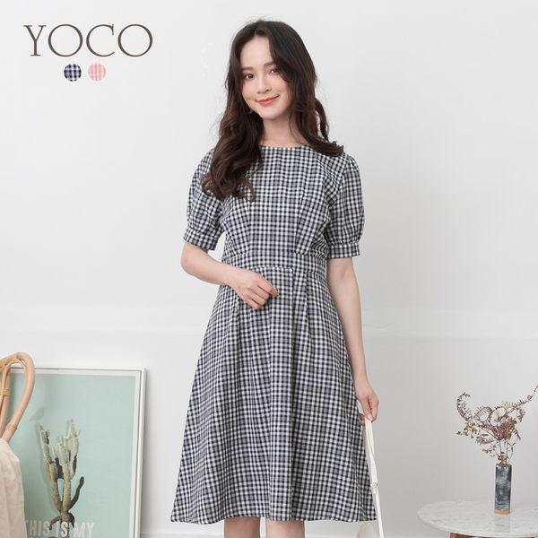 東京著衣【YOCO】YOCO-氣質百搭格紋澎袖洋裝-S.M.L(190847)