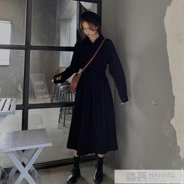 春秋季2020年新款女裝減齡顯瘦長袖黑色洋裝子秋冬打底 女神購物節