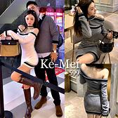 克妹Ke-Mei【ZT70610】Jennie辣妹風!心機二面穿撞色吊頸露肩不規則洋裝